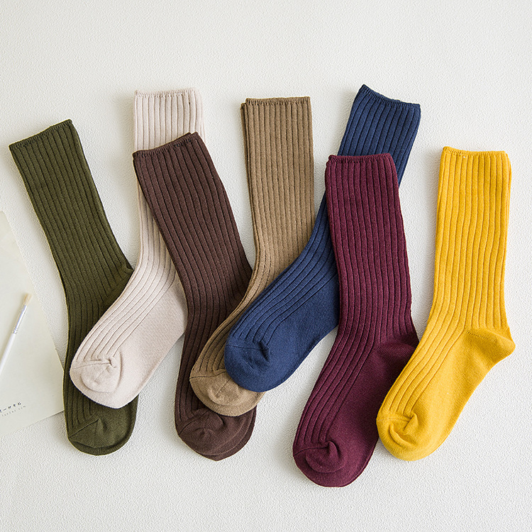 Retro Solid Color Women Lady Cotton Loose Socks Autumn Winter Girl Knitting 4 Seasons Basic Daily  Socks