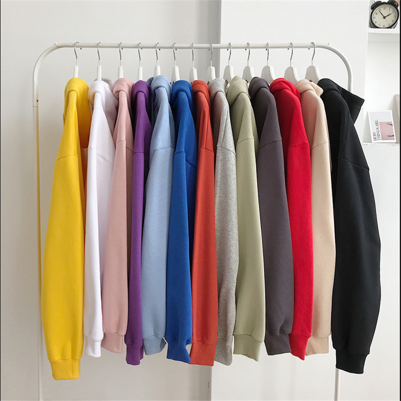 Autumn Winter Solid Hoodie Sweatershirts Womens Casual Loose Pullover 11 Colors Szie M/L/XL/XXL Warm tops Female Clothes Coats 1