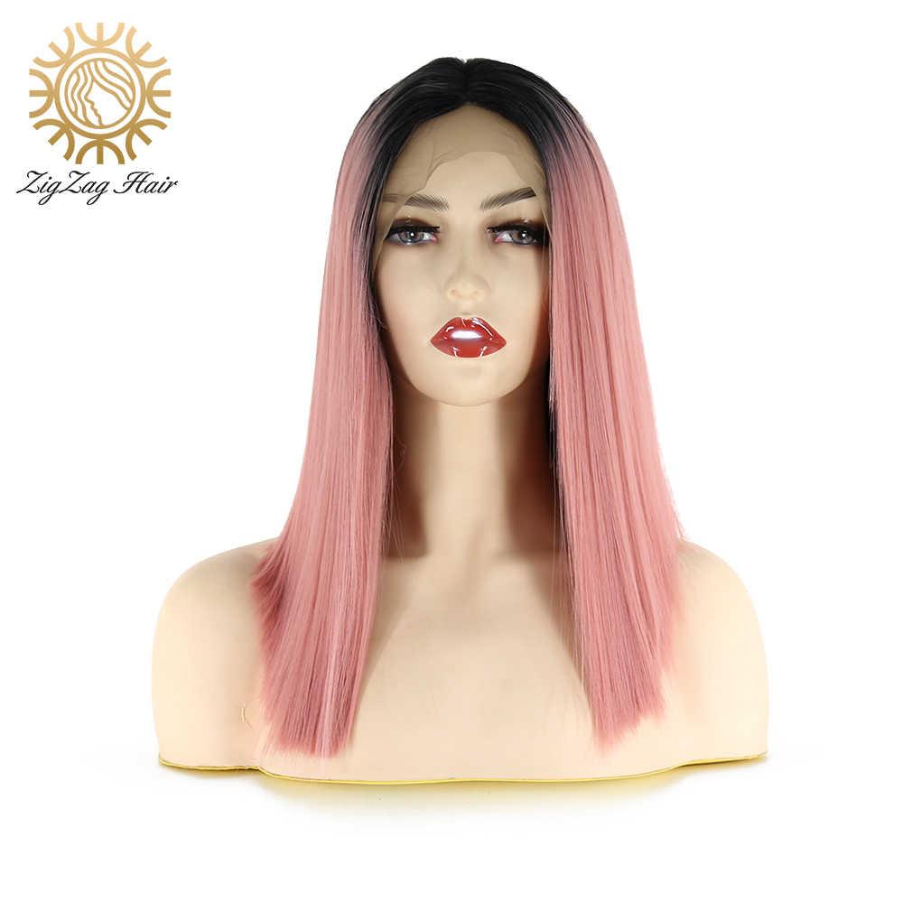Zigzag Korte Rechte Bob Ombre Roze Pruik Hittebestendige Vezel Haar Middelste Deel Lijmloze Synthetische Lace Front Pruiken Voor Vrouwen