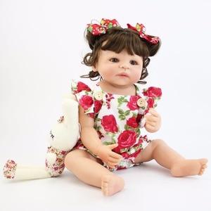 Image 3 - 55cm Full Silicone Body Reborn Baby Doll Toy For Girl Vinyl Newborn Princess Babies Bebe Bathe Accompanying Toy Birthday Gift