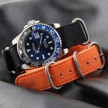 Bracelet en toile de coton ZULU, pour montre de sport Nato, 20 22 24 26mm, Bracelet d'horloge avec anneau solide
