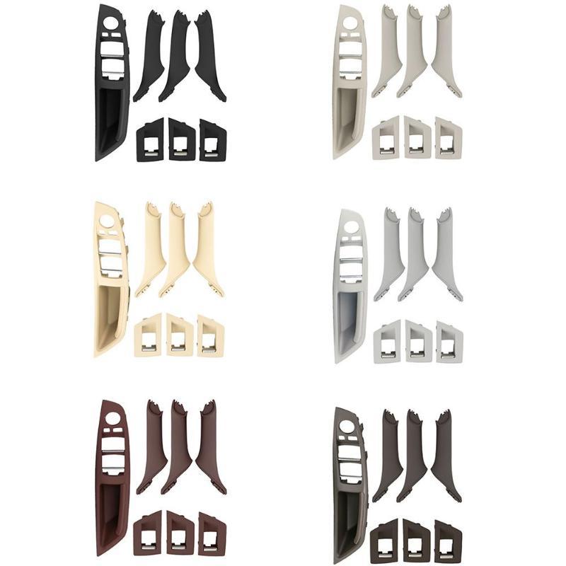 Auto Anteriore Sinistra del Sedile Conducente LHD Interni Beige Nero Maniglia della Porta Bracciolo Pannello Interno Tirare Trim Copertura Per BMW F10 f18 2010-2017