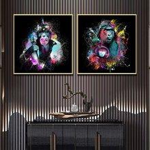 Забавная красочная картина со звездами обезьянами граффити холст