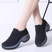 Женские осенние кроссовки, носки, женские туфли на плоской подошве, туфли на платформе, Женские Дышащие сетчатые слипоны, теннисные кроссовки, криперы, женская обувь 1839