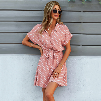 GXDS Dresses Office Lady Boho Dot Pattern Women Clothing Black Viscose Bow-Knot Outfits Loose Soft Casual Dress 2021 Wholesale