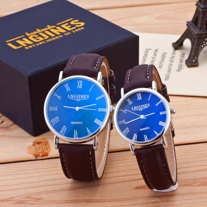 New Couple Watch Custom Waterproof Watch 2pcs Fashion Couple High Gloss Glass Leather Belt Watch Couple Gift  I Love You Watch