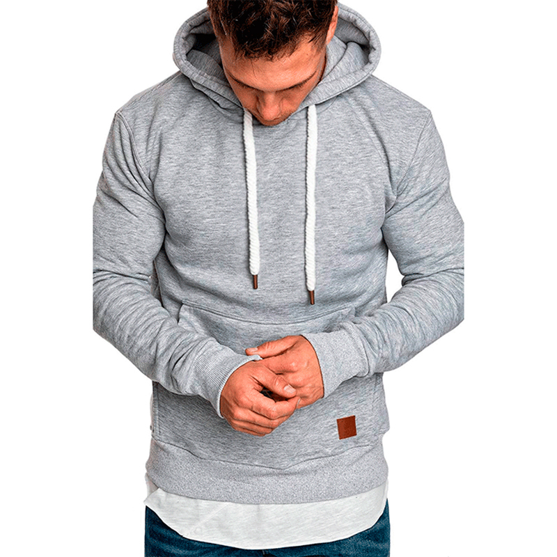 Men Fleece Hoodies Sweatshirt New Solid Casual Pocket Long Sleeve Hooded Outdoor Sport  Autumn Winter Hoody Coat