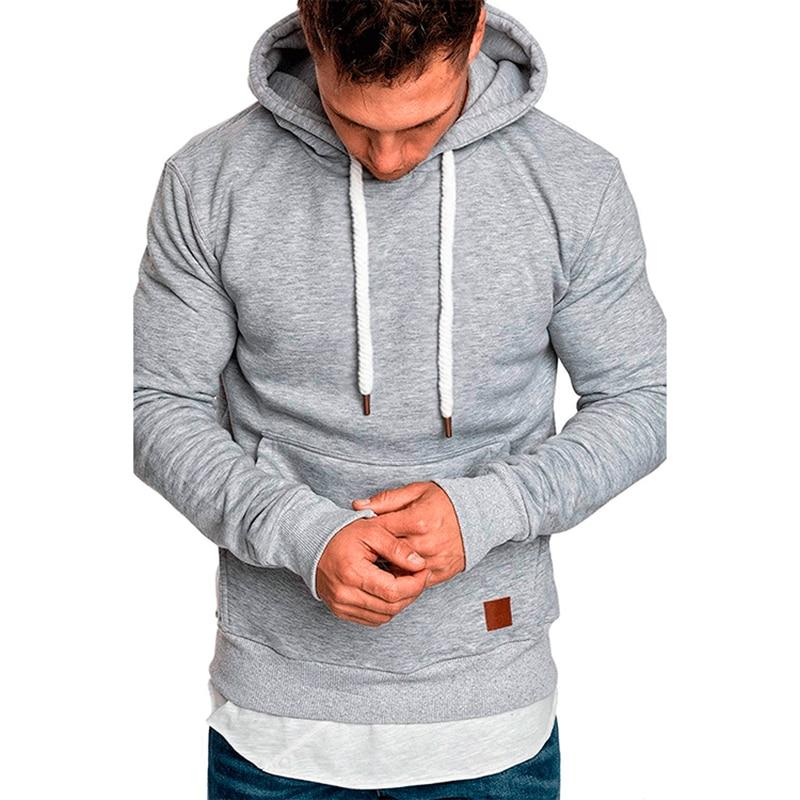 Men Fleece Hoodies Sweatshirt New Solid Casual Pocket Long Sleeve Hooded Outdoor Sport  Autumn Winter Hoody Coat