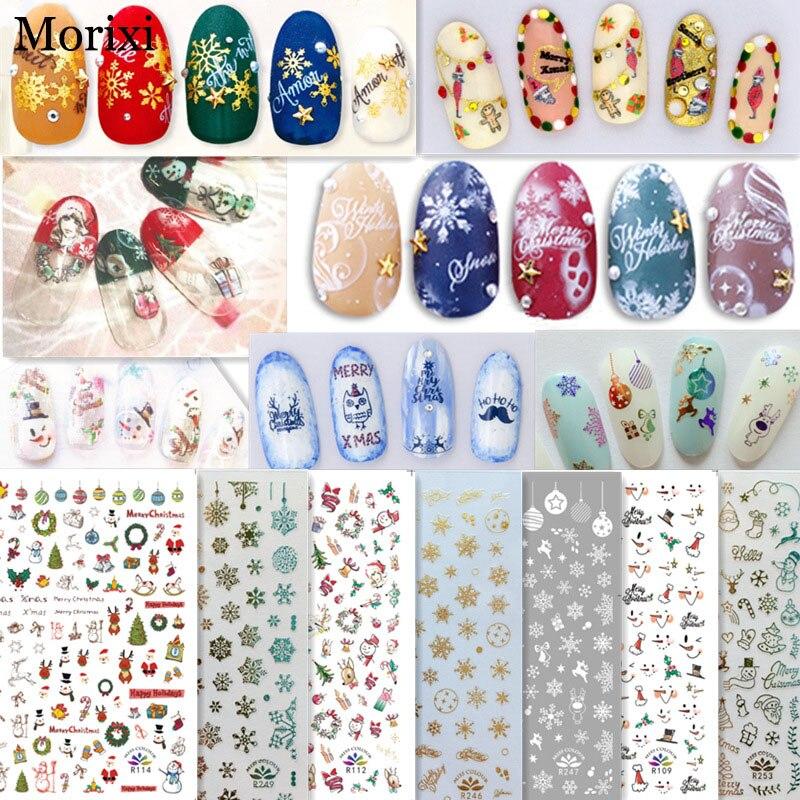 Купить morixi рождественская наклейка для дизайна ногтей золотой белый