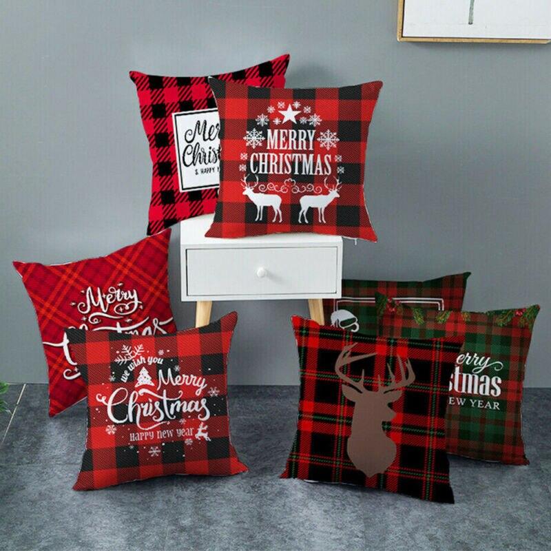 """18x18/"""" Christmas Pillow Case Polyester Home Sofa Car Throw Cushion Cover Decor"""