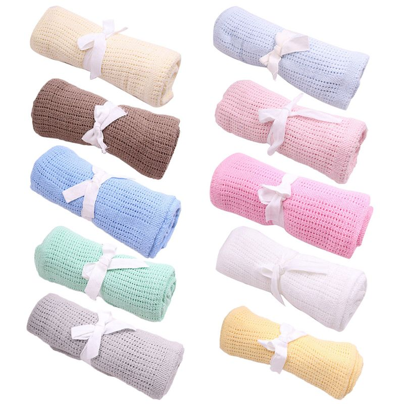 Summer Cotton Baby Blankets Candy Colors Infants Travel Blankets Newborn Baby Bedding Swaddle Toddler Photography Prop 70 X 90cm