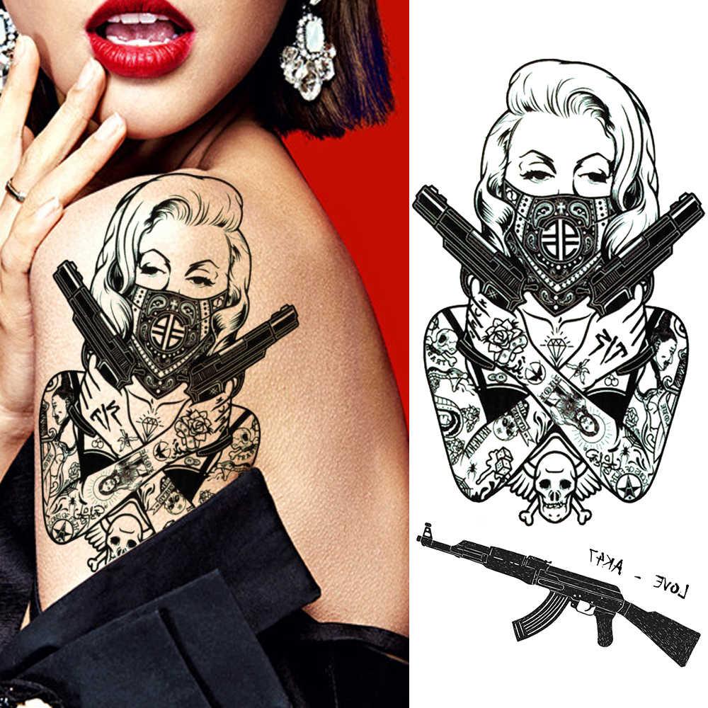 Kreatif Gangster Sementara Tato Stiker Realistis Palsu Tahan Air Tubuh Seni Tato Geometris Tengkorak Ak Pistol Tato untuk Orang Dewasa
