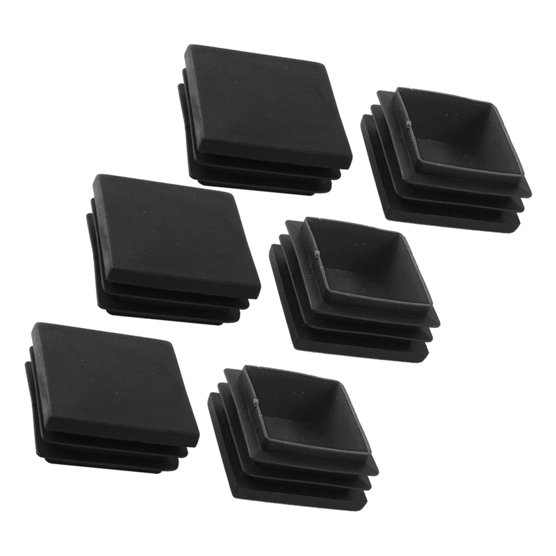 Hot Sale 6 Pcs Black Closure End Caps Square Tubing Tube Foot Cover 40 X 40 Mm