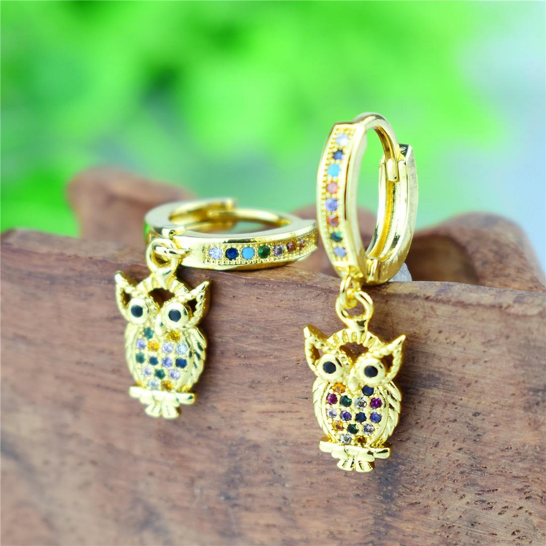 2020 Golden Exquisite Owl Zircon Earring for Women Rainbow AAA Zircon Crystal Drop Earring Daily Pendant Birthday Gift Present