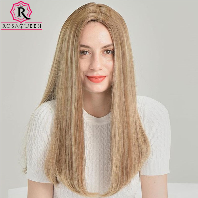 Honey Brown Colored Silky Straight European Hair Silk Base Human Hair Wigs Jewish Wigs Virgin Hair Rosa Queen