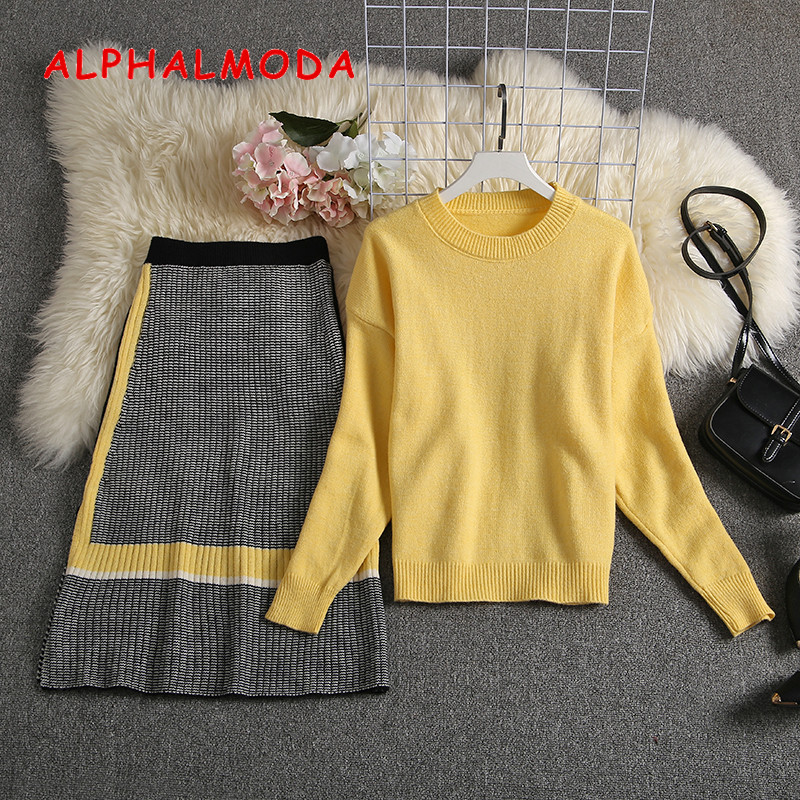 ALPHALMODA 2019 Autumn New Arrived Women Knitting Sweater Skirt Suits Bright Color Youthful Winter Knitting Outfit 2pcs Set