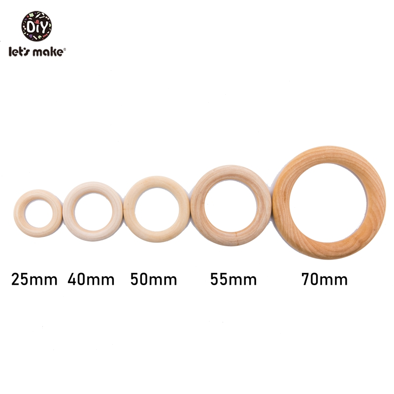Let's Make Wholesale 100pc 50mm Maple Wooden Ring Custom Logo Food Grade Wooden Teething Rattle Toys Baby Nursing Baby Teether