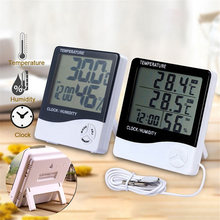 LCD Digital Hygrometer Thermometer High Precise Electronic Temperature Humidity Monitor Indoor Outdoor Weather Station Clock(China)