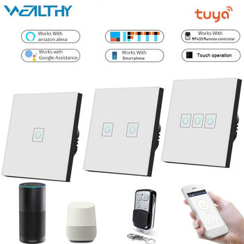 цена на WIFI Smart Touch Switch,Wireless APP Remote Control Wall Light Switch Crystal Glass Panel Switches Works With Alexa Google Home