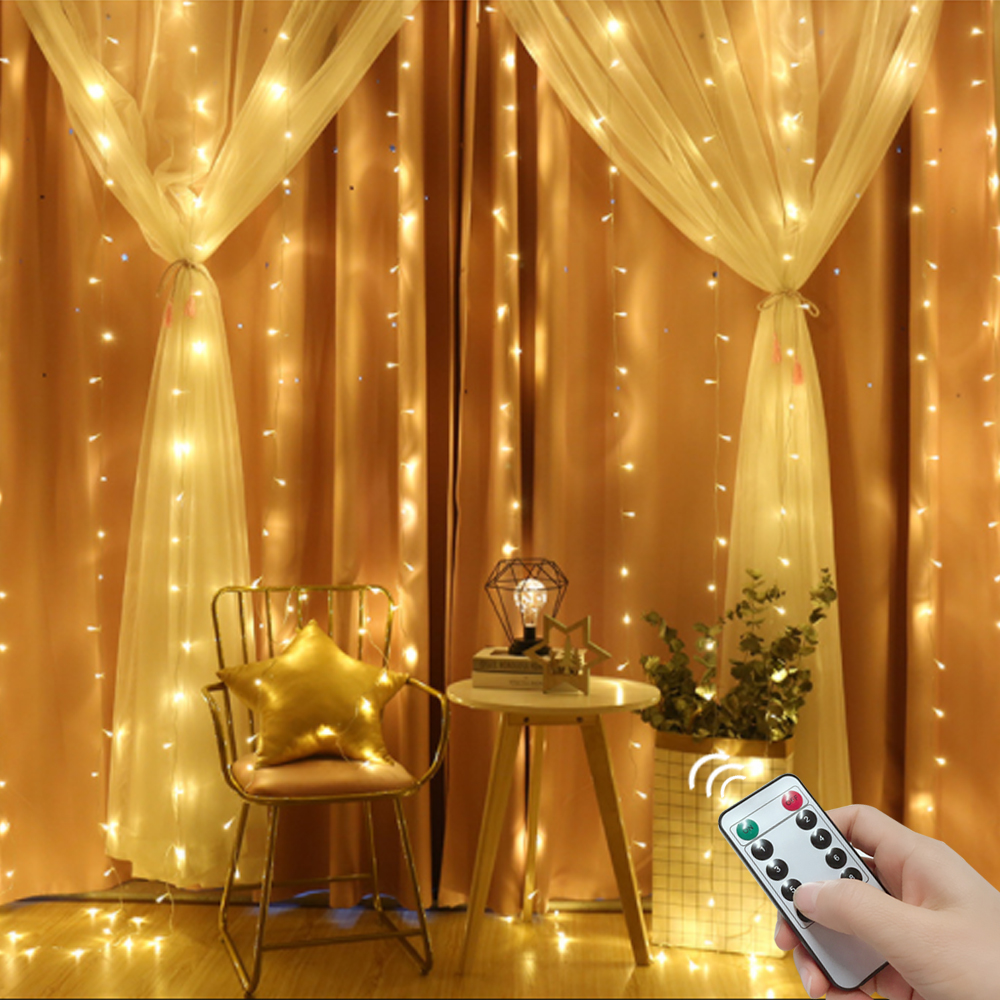 3x3/6x3 Remote Control Icicle Curtain Fairy Lights Christmas Lights LED String Lights Garland Party Garden Street Wedding Decor