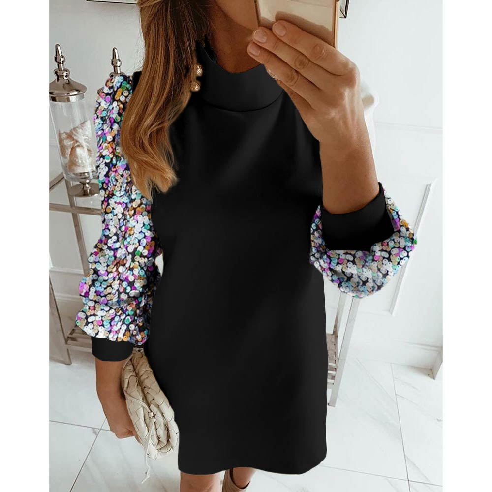 Stand Collar Button Dresses New Female Casual Puff Sleeve Sequined Dress Autumn Winter 2019 Womens OL Work Dress Ropa Mujer D25