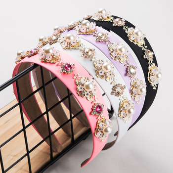 New Pearl Rhinestone Baroque Headband Crystal Plain Color Velvet Handmade Hair Band Women Party Elegant Accessories