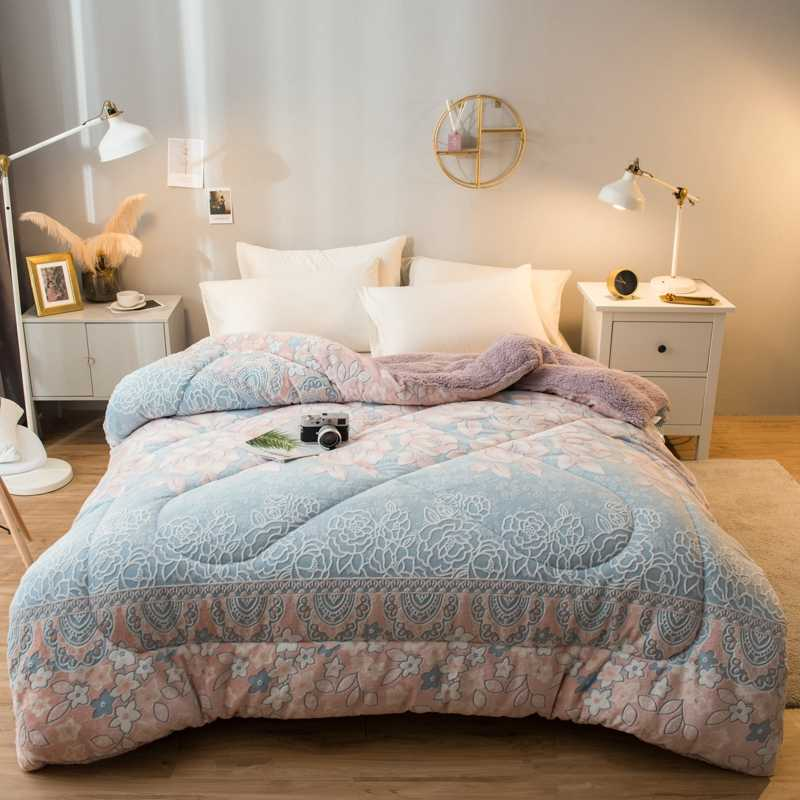 Neue Luxus Herbst Winter Weichen Flanell Berber Fleece Kaschmir Warme Starke Tröster QuiltS Bett Set Decke Matratze Abdeckung