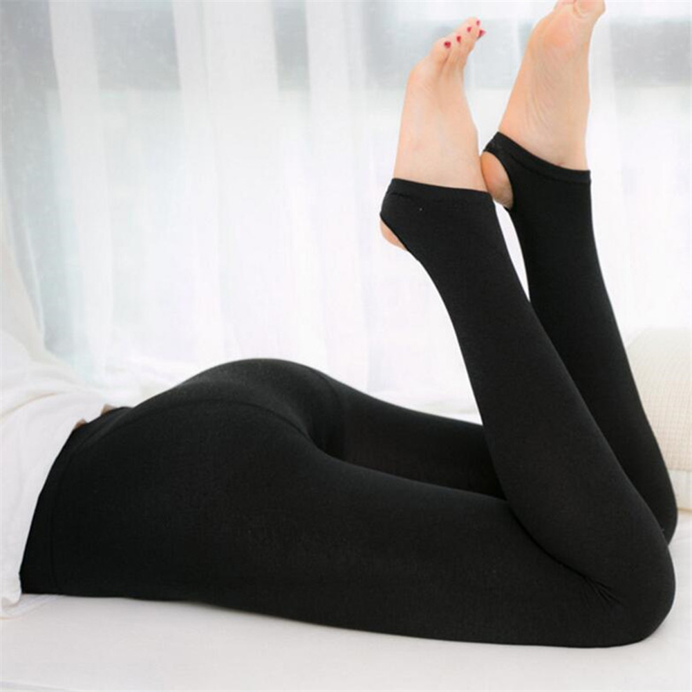 Women Autumn Solid Color Stretchy Fleece Warm Cropped Stirrup Leggings Fleece Warm Cropped Stirrup Leggings