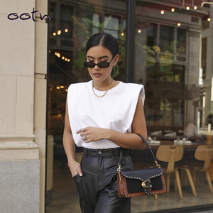 Spring Summer White Loose Sleeveless Top Women O Neck Camis Casual Basic Sport Vest Tops Female Streetwear Tank Tops Knitte 2020(China)