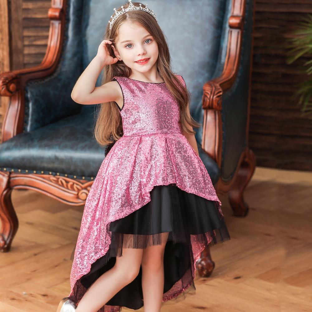 2019 CHILDREN'S Full Dress Girls Sequin Sleeveless Large Bow Tailing Princess Stage Catwalks Performance Dress