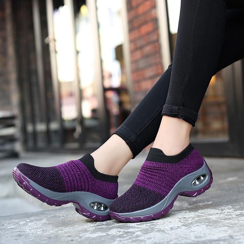 KWBEFRT 2019 Spring Women Sneakers Shoes Flat Slip on Platform Sneakers for Women Black Breathable Mesh Sock Sneake Dropshipping(China)