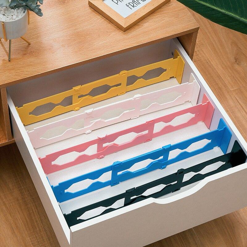 Divisor organizador de gavetas ajustável, placa de armazenamento retrátil de plástico multifuncional para gavetas em casa e escritório