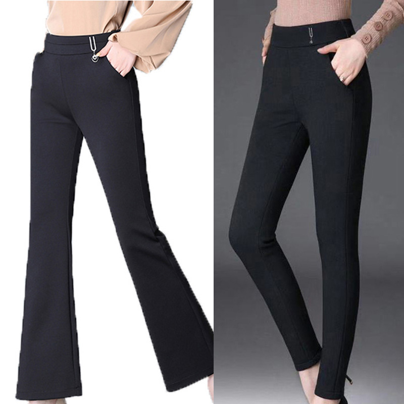 Women's Pants Autumn Winter Casual High Waist Trousers Flare Pants Solid Color Slim Fit Elastic Casual Ladies Pants 1