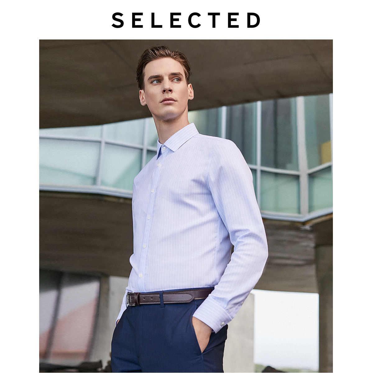 SELECTED 남성 100% 코튼 레귤러 슬림 피트 스트 라이프 비즈니스 긴팔 셔츠 T | 419305576