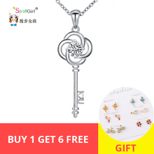 2018 New arrival I love you Key white zircon Necklace Girl 925 Sterling Silver Pendant Necklace For Women Fashion Jewelry Gifts new i love football fencing helmet charm pendant necklace alloy ancient silver fashion women