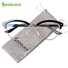 SOOLALA кошачий глаз полуоправы анти синий светофильтр женские очки синий свет Блокировка анти излучения компьютерные очки
