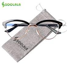 SOOLALA Cat Eye Semi-Rimless Anti Blue Light Filter Eyeglasses Frame Women Blocking Radiation Computer Glasses