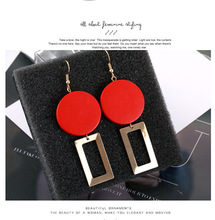 European-american Temperament Fashion Red Wood Block Geometric Personality Exquisite Earrings Heart