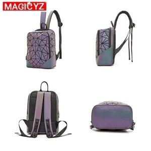 Image 2 - Лазерный светящийся треугольный комплект с блестками, рюкзак для женщин, сумка на плечо, школьный рюкзак для девочек, женский дизайн, рюкзак, голографическая сумка