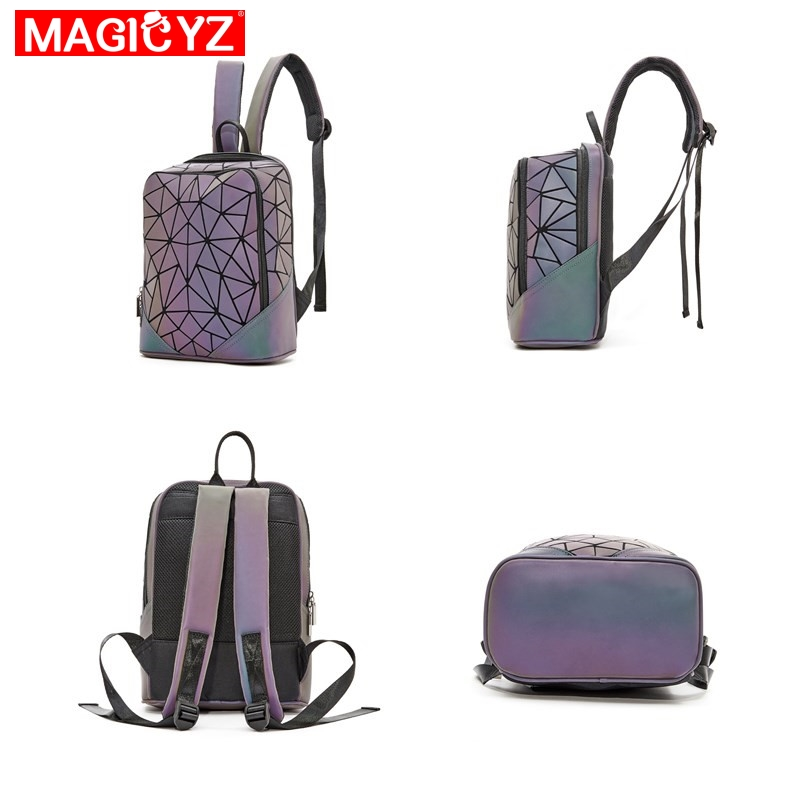 Image 2 - Laser Luminous Triangle Sequin set Backpack for women's shoulder bag School Girls Backpack Female Design Backbag holographic bag-in Backpacks from Luggage & Bags