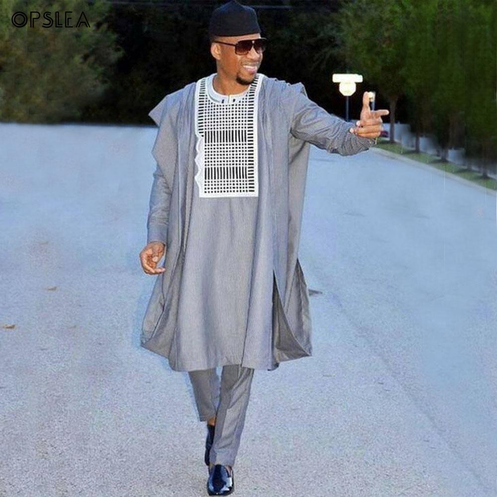 Opslea Agbada Africain Hommes grande taille Broderie hauts Pantalons Tenue Bazin Riche 3 pièces Costumes Dashiki Traditionnelles Africaines Vêtements Gris