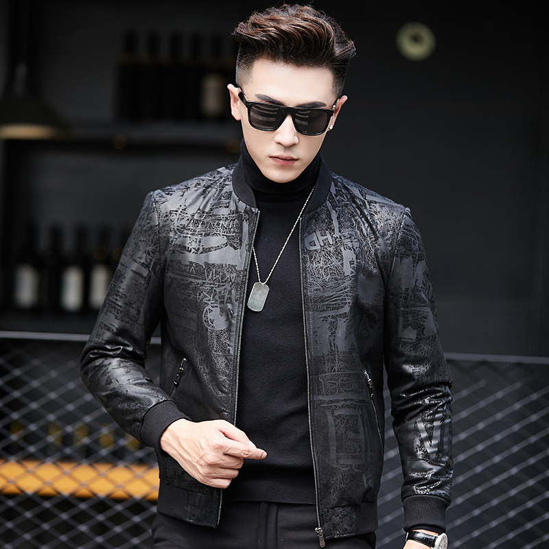 2020 Genuine Leather Jacket Men Real Sheepskin Coat Baseball Collar Mens Motorcycle Bomber Jacket Jaqueta Couro LWB1802 YY412