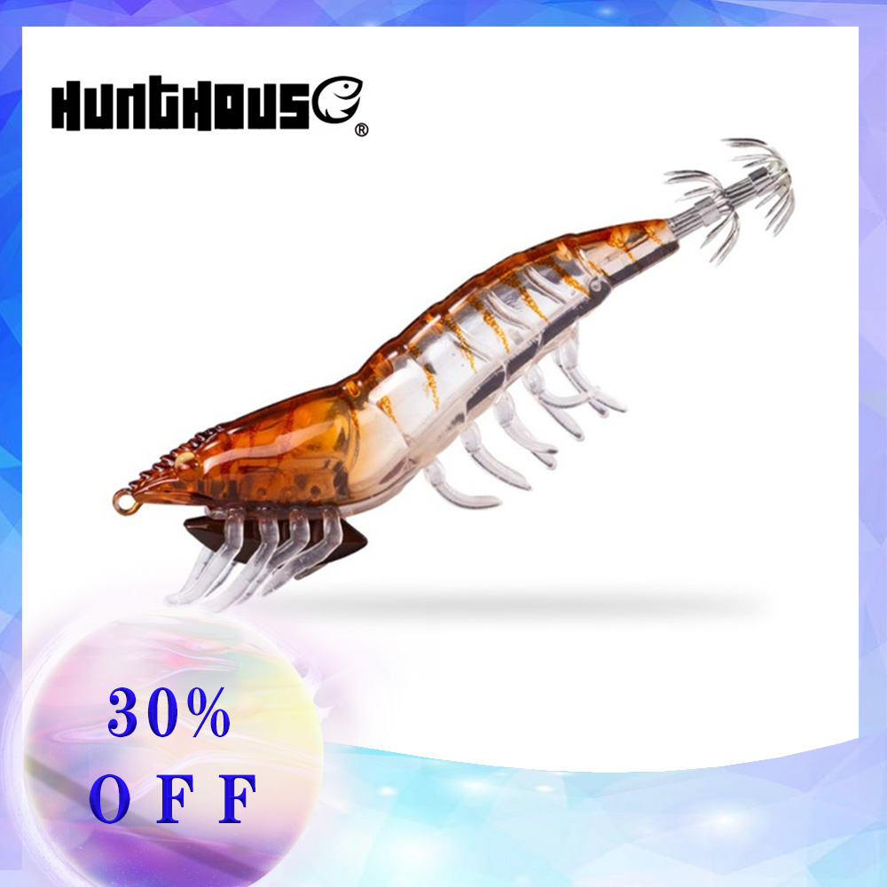 Hunthouse fishing lure Squid Jig wooden eging hook shrimp for Cephalopod Wood shrimp octopus lures squid jigging leurre cuttle