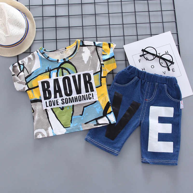אופנה הדפסת תינוק בני בגדי מותג תינוק סטי פנאי ספורט ילד חולצה + קאובוי מכנסיים סטים לפעוטות בגדים