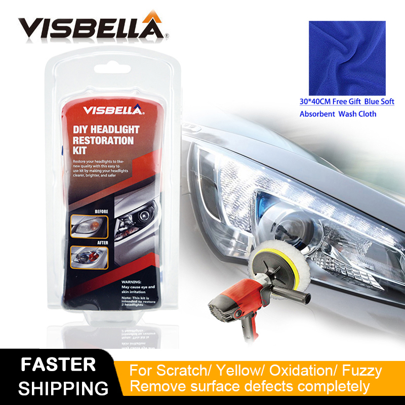 Visbella DIY Headlight Repair Kit For Car Care Professional Headlamp Restoration Cleaner Renew Lens Polish Hand Tool Sets