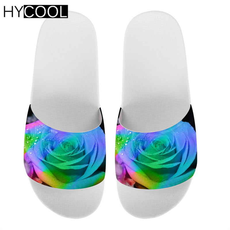 HYCOOL/женские тапочки с цветочным узором и розами; коллекция 2020 года; Летние Нескользящие мягкие шлепанцы для девочек; Домашние шлепанцы
