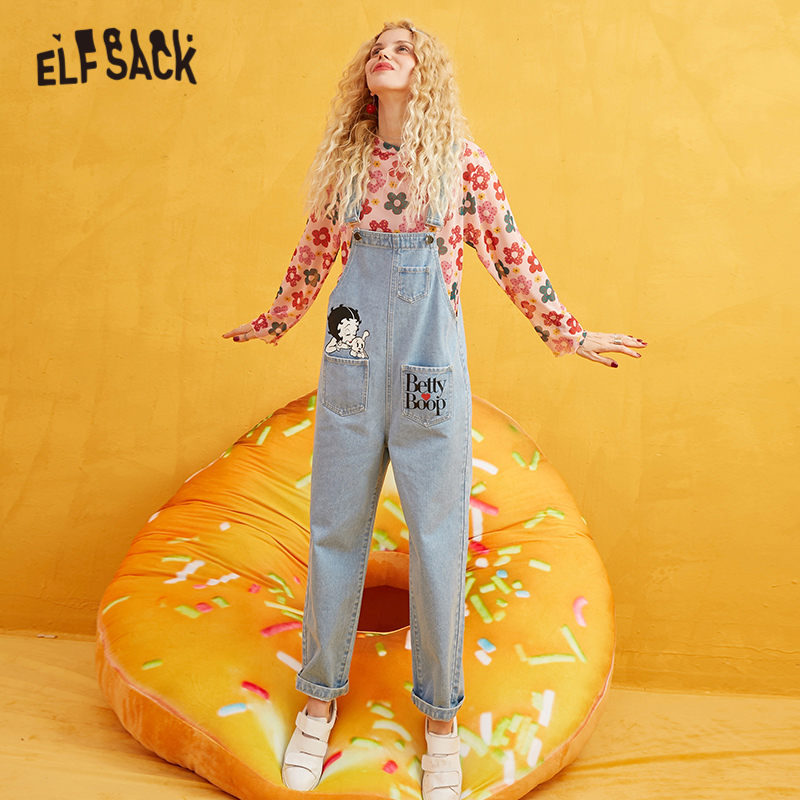 ELFSACK Betty Printed Straight Leg Overalls Women Jeans 2019 Autumn Fashion Long Washed Casual Office Ladies