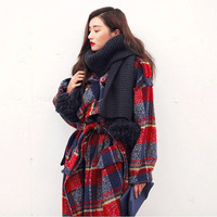 New UK High fashion Runway 2019 Fall / Winter Women Oversized Casual Wool Plaid loose Maxi Long coat Female outerwear 053