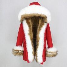Oftbuy 2020 Winter Jas Vrouwen Echte Bontjas Dikke Warme Natuurlijke Fox Bontkraag Hood Parka Uitloper Faux Fur Liner streetwear Nieuwe