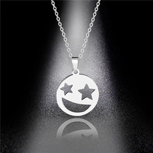 Titanium Steel Smiley Face Necklace Female Tide Brand Smile Lucky Hip-hop Pendant Personality Hundred Accessories stylish smiley face lace choker necklace